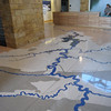 Really neat mosaic floor at Sandstone Visitor Center, New River Gorge.  Mosaic depicts the river, its tributaries and state and federal lands.
