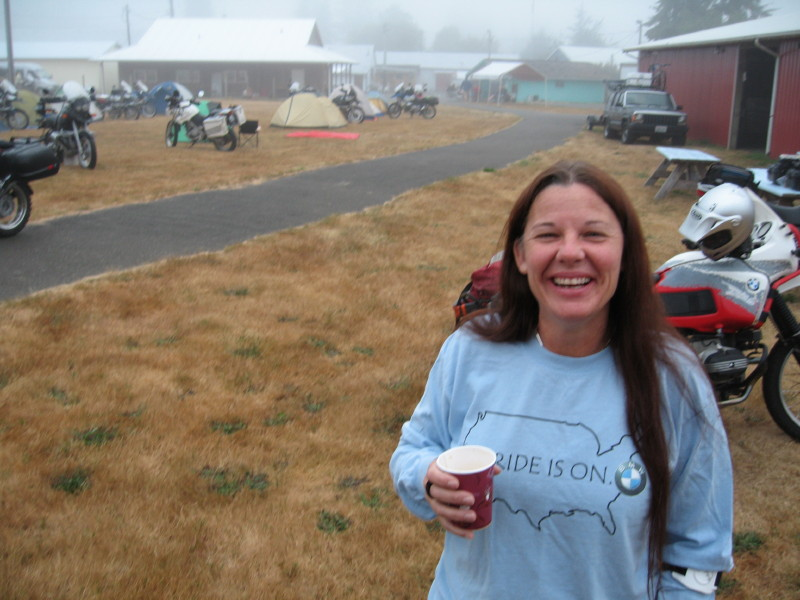 The NW_GS rally at menlo WA. Ellen was up early and came by to wave Pawel and I goodbye before we left for Idaho.