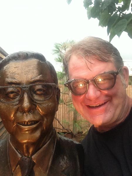Me next the bust of the creator of the Bonzai Garden