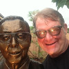 Me next the bust of the creator of the Bonzai Garden