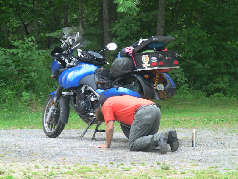 morning chain maintenance before leaving Two Rivers campground