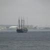 Sailboat entering Halifax harbor