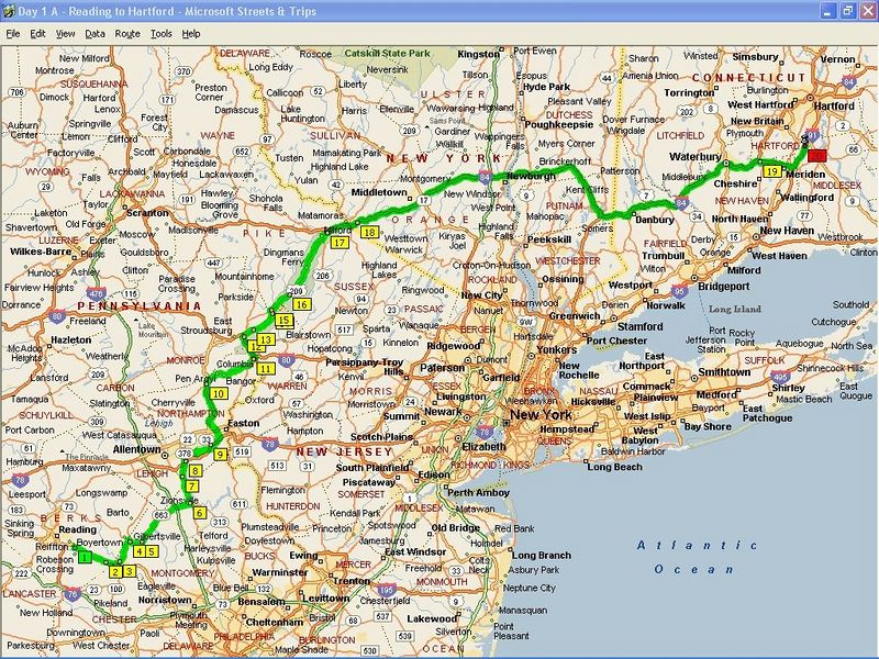 We left the Reading, PA area around 5PM, after everyone got off from work.  We rode until about 11:00 PM to near Hartford, CT, where we found a Super 8 to spend the night.