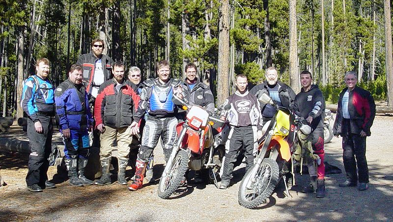 "<font size=""+2"">Group photo at Little Cultus Lake.  We're missing two starters, the Ducati Elephant and someone who offered to ride back and pick up a trailer and perform the rescue."