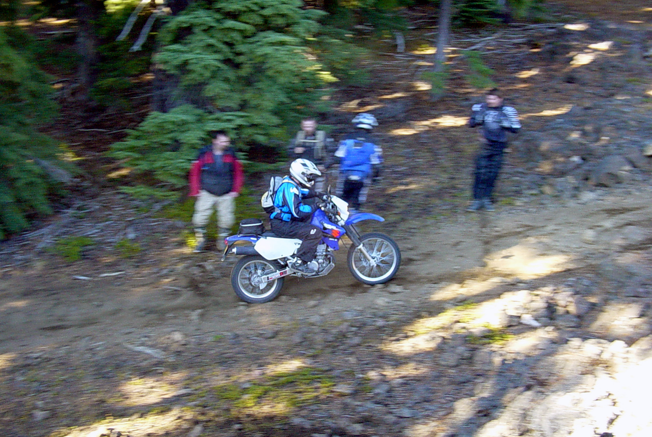"<font size=""+2"">Eric makes it up the technical stuff on his DRZ without a steering damper..  Did I mention LOTS of rolly-polly lava rock on this trail?"