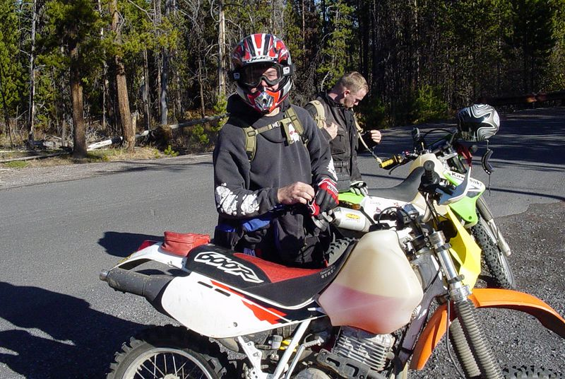 "<font size=""+2"">Forest on his amazing XR-600 with a KTM fender and a Suzuki headlight.."