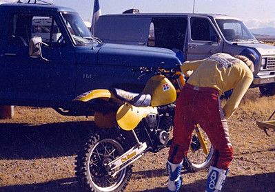 Eric preping for Barstow to Vegas 1985