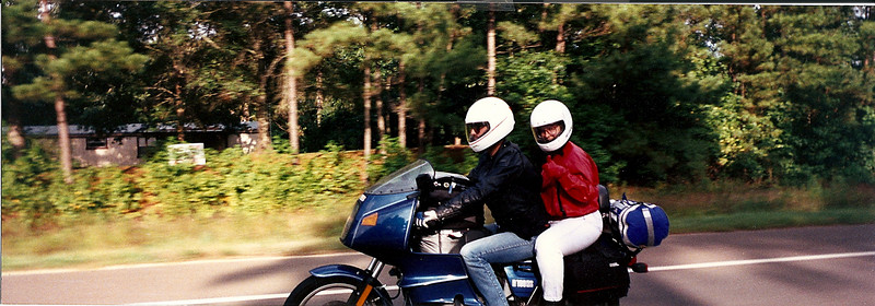 1992.  Riding on the RS to Brownsville, TX to see my dad.  My brother Mike and his now ex Maggi rode with us.  Mike was on his 1974 R75/6.