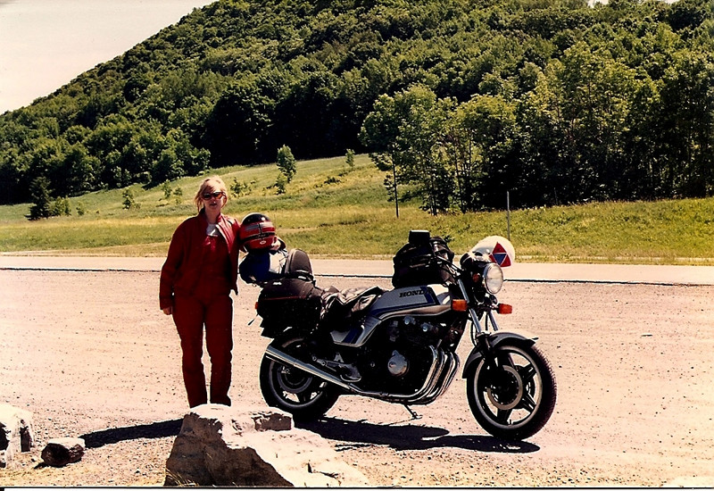 1990.  Tina and I on the CB in upstate NY.  That trip convinced us we needed to buy a BMW.