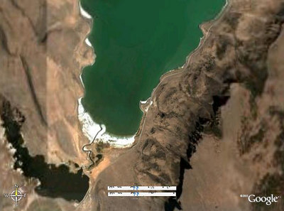 Satelite photo of where I camped on Lake Abert, right on that little point