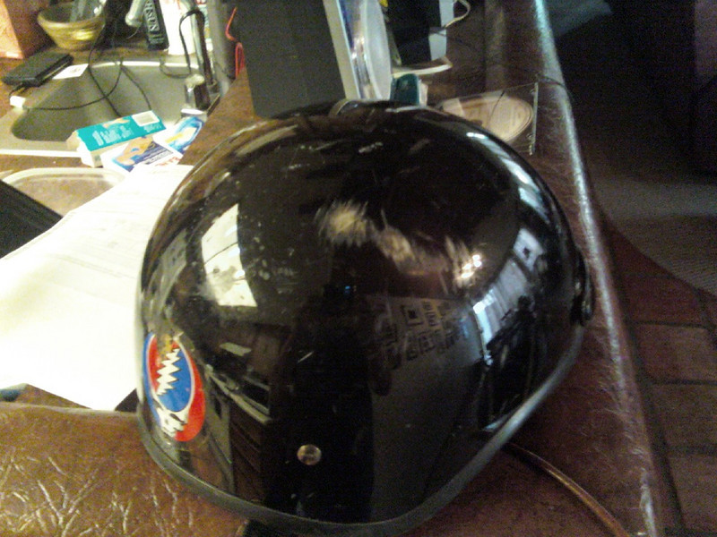 Ouch.  Better the helmet than my head though.