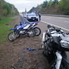The state troopers were very helpful.  The trailer and one dirt bike ended up in the high speed lane, and the K bike hit the guard rail on the other side.