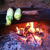 Patricks Point dinner: steak cooked on a stick & corn on the cob