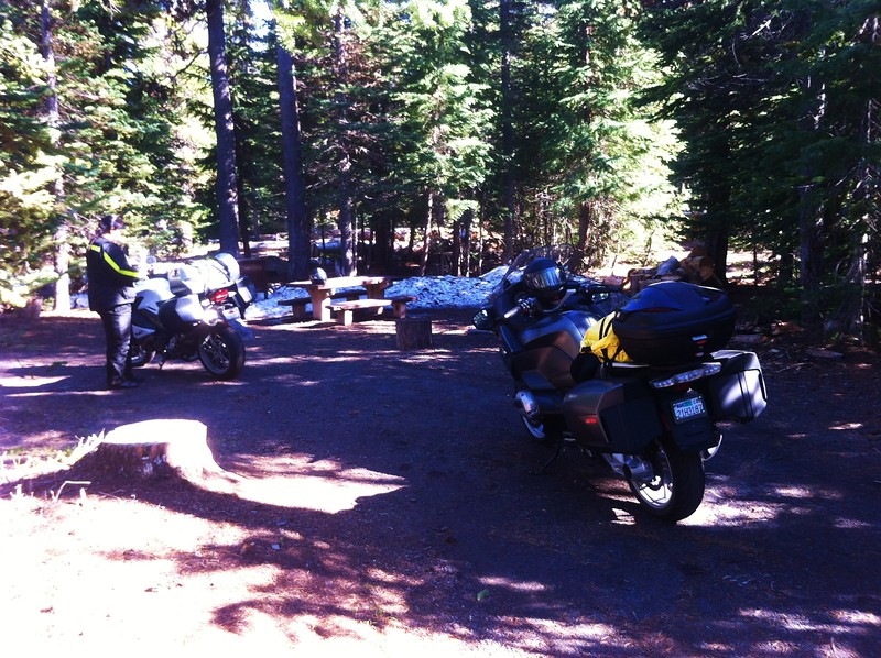 Snowy campsite at Mazama Campground, Crater Lake National Park OR