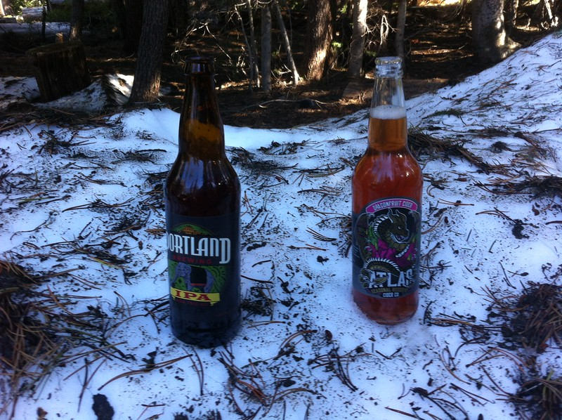 Chilling the beverages in the snowbank
