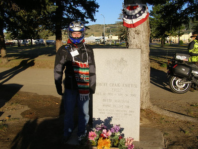 "The grave site of Robert ""Evel"" Knievel, Explorer, Motorcyclist, and Daredevil. As you enter the cemetery there is a sign and arrow pointing to the grave."