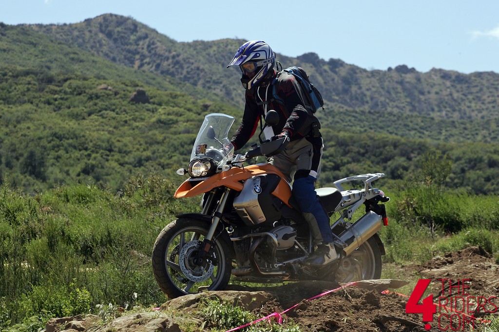 bmw gs making way over rockpile