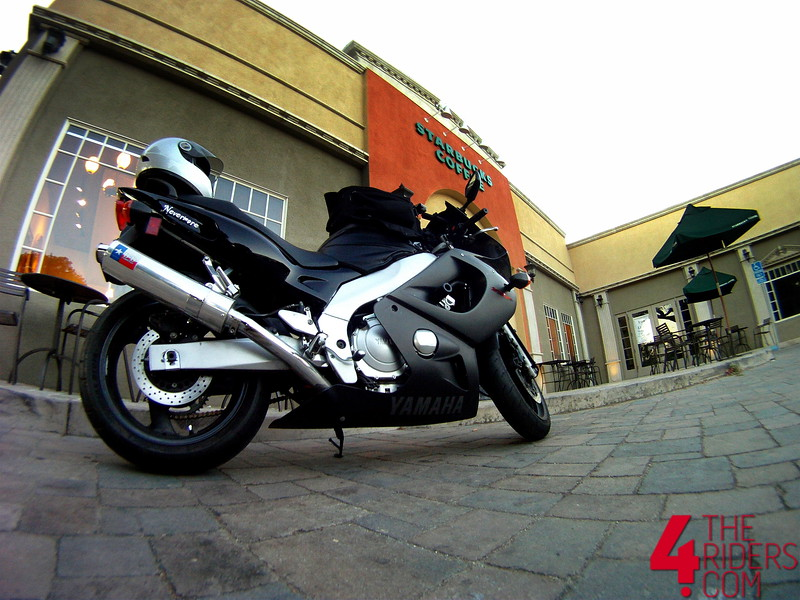 yzf600r thundercat posing in front of starbucks