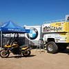 """Jim Hyde of Rawhyde Adventures is in charge of setting up this year's first """"Moto Village""""."""