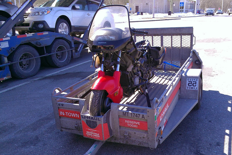 Trailering the PC800 home