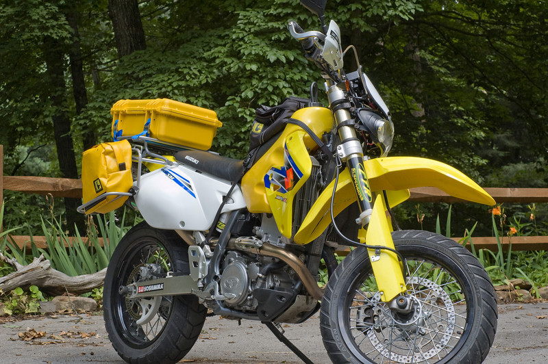DRZ400SM with Pelican 1450 case and Wolfman tank panniers and tank bag