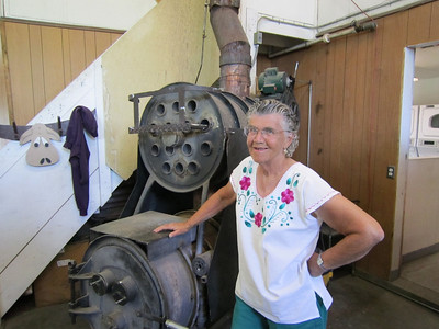 Pat Vincent of the Economy Grocery in Ukiah. She welded that stove herself!