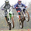 7 Rick Harris of Cabot and 6 Blake Wingo of Malvern fly though the air side by side after taking off from a jump during the Annual Pete Perna Invitational at Pine Bluff Motocross Saturday. The Invitational is for racers 40 years or older and brings racers  from all the surrounding states to particpate. The event also has races for all other age groups as well as women's classes and is the final event of the year.  The next event will be held in February at Pine Bluff Motocross. /Mike Adam