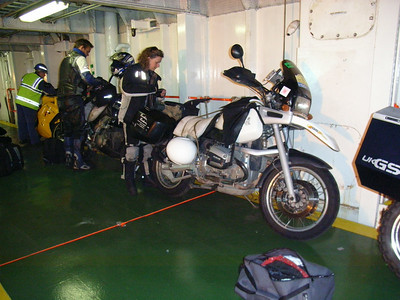 Checking all is ok with the bikes for the sea crossing