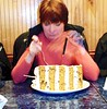 Donna did share this carrot cake with everyone, I mean, is so big that no one can eat a whole piece.