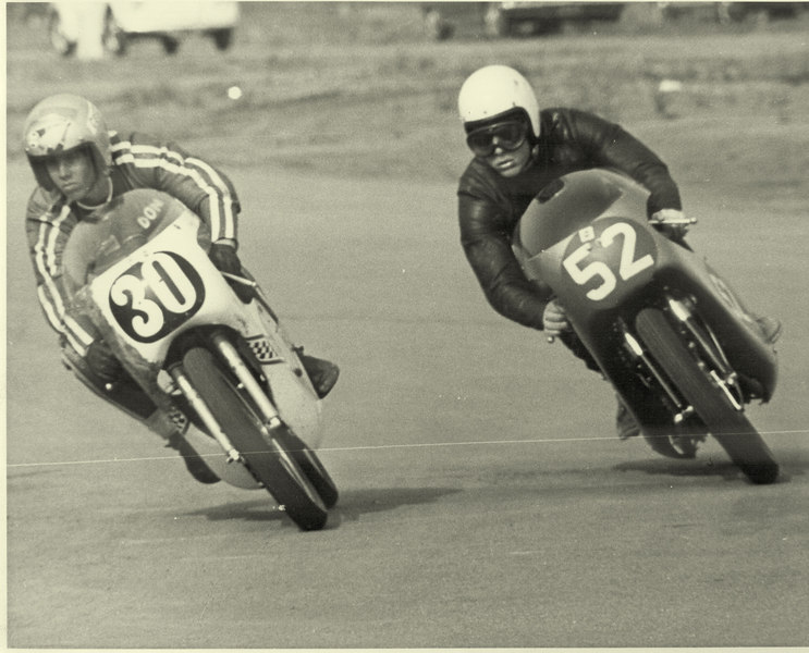 Don Emde (later Don won the Daytona 200!) and Photoman battling it out at Orange County International Raceway in the late 1960s!