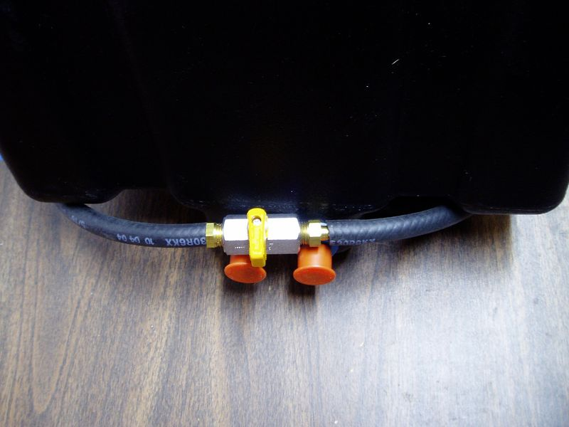 A ball-style shutoff valve will control the gravity feed.