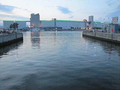Grain silos by the docks.