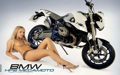 What can I say! sexy young glamour model with the sexy BMW HP2 megamoto