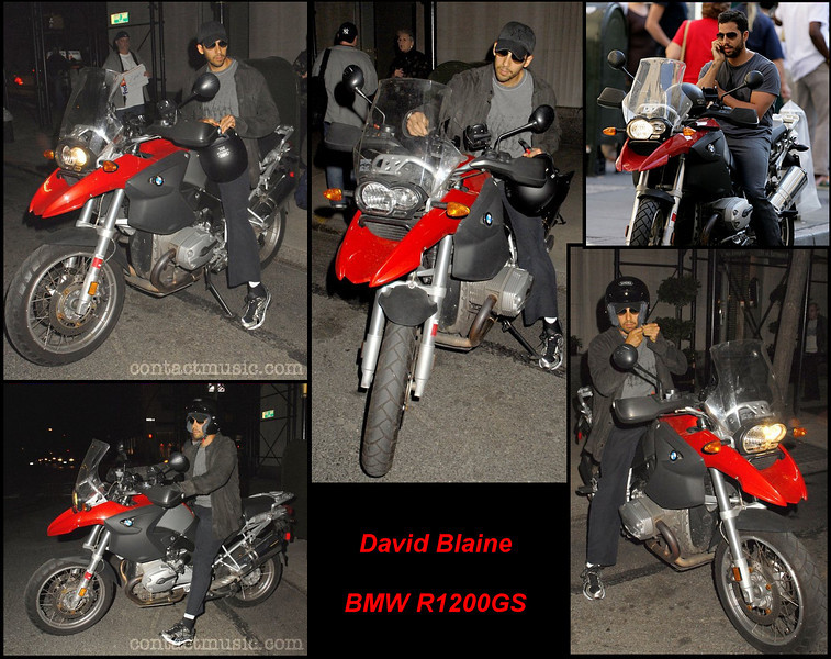 Another clebrity with a BMW R1200GS motorcycle - David blaine