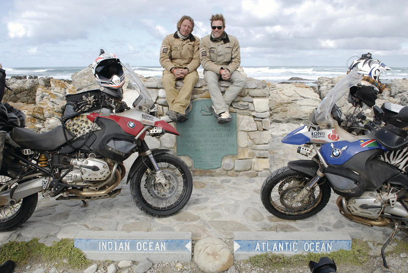 Souther most tip of Africa - end of the 'Long Way Down' for Ewan McGrgor and Charley Boorman on their BMW R1200GS motorcycles