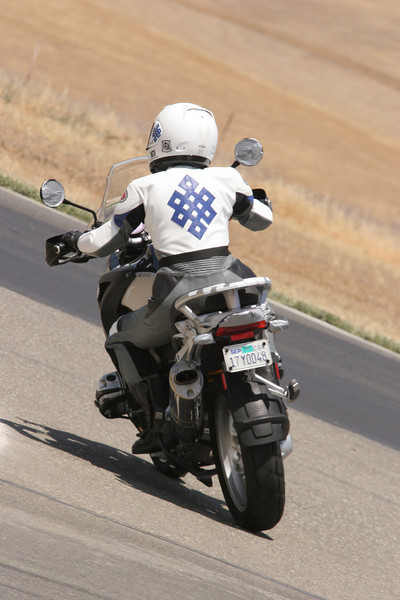 """Cecilie on her BMW R1200GS at Thunderhill race circuit (California, USA) June 2007<br />  <a href=""""http://www.balsamfir.com/"""">http://www.balsamfir.com/</a>"""