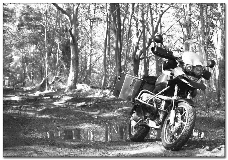 """And once more, BMW R1150GS by GSclubUK'er 'MasterDabber' (aka Derek) after he has applied a black & white filter effect and """"a faux Infra Red effect applied"""" in Photoshop"""