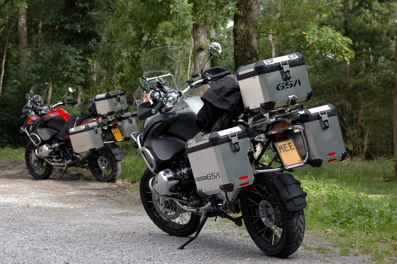 """Not that 'creative' a photo but I like it! :-)<br /> Tom and Christoph's R1200GSAs - Belgian Ardennes somewhere a few km's from Rochefort.<br /> 'Tomini'  <a href=""""http://forum.bmw-mc-vl.be"""">http://forum.bmw-mc-vl.be</a>"""