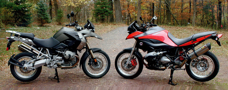 "Custom modified BMW R1200GS, the GS-M by Machineart Moto   <a href=""http://www.machineartmoto.com"">http://www.machineartmoto.com</a><br /> The original BMW R1200GS and the custom designed GS-M side by side for contrast"