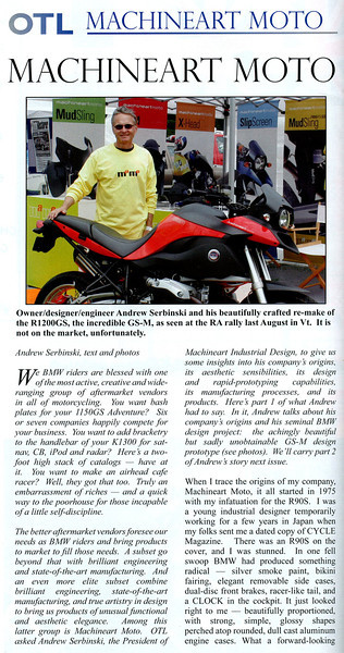 "Custom modified BMW R1200GS, the GS-M by Machineart Moto   <a href=""http://www.machineartmoto.com"">http://www.machineartmoto.com</a><br /> BMW RA Club Magazine OTL article December 2010"
