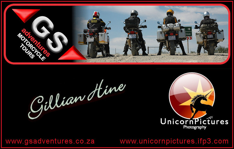 "A small selection of amazing photos from Gillian Hine of GS Adventures and Unicorn Pictures (Adventure Motorcycle Photography)<br />    <a href=""http://www.unicornpictures.ifp3.com"">http://www.unicornpictures.ifp3.com</a>   -    <a href=""http://www.gsadventures.co.za"">http://www.gsadventures.co.za</a>"