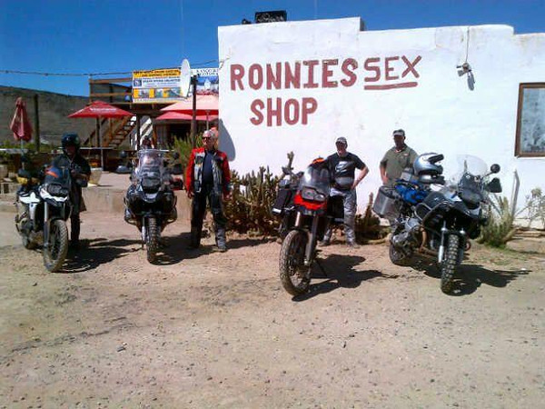 """Hmmmm....loitering with intent?! lol Photo by Gillian Hine - GS Adventures motorcycle tours's - http://www.facebook.com/GSbike <i>Route 62 is South Africa's version of the famous American Route 66. Visit the Famous """"Ronnies Sex Shop"""", it really is a must do on Route 62.</i>"""