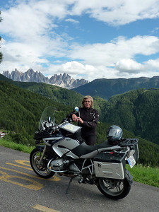 Photo1: German born (Trier, Mosel) Ellen, living in Valencia, Spain and her R1200GS - Somewhere in the Dolomites 2010... we made all the Alps (Iitaly, France, Switzerland, Austria and Germany...) and had a lot of fun although the weather was not that good.