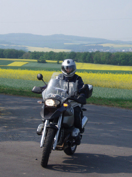 Dutch R1200GS rider Els in the Mosel, Germany