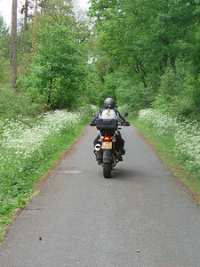 Dutch R1200GS rider Els on a nice country lane just over the border in Germany