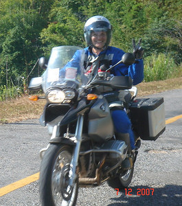Hana on the move on her R1200GS