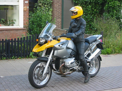 Dutch rider Mrs J-P takes an R1200GS for a test ride
