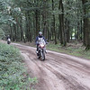 Dutch R1200GS rider Els on a dirt track in the Netherlands