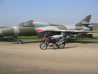Kemble Airport, Gloucestershire - one of several Hawker Hunter aircraft and of course my R1200GS :-)