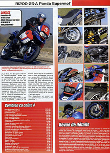 Article June 2009: R1200GS-A Supremot featuring the Panda Moto 89 BMW R1200GS SuperMoto (SuperMotard)   http://www.pandamoto.fr English translation here:  http://www.motorcycleinfo.co.uk/index.cfm?fa=contentGeneric.pzbpzozgmajbxjom&pageId=738718